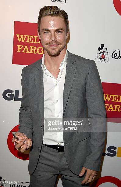 Derek Hough poses backstage with the GLSEN Respect Inspiration Award at the 10th annual GLSEN Respect Awards at the Regent Beverly Wilshire Hotel on...