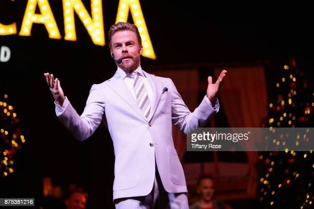 Derek Hough speaks onstage at Derek Hough Hosts The Americana at Brand Tree Lighting Presented By BMW on November 16 in Glendale California on...