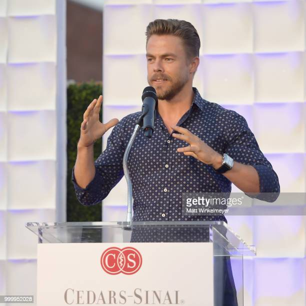 Derek Hough speaks onstage during the 33rd Annual CedarsSinai Sports Spectacular at The Compound on July 15 2018 in Inglewood California
