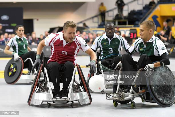 Derek Hough takes part in a Wheelchair Rugby exhibition match during the Invictus Games Toronto 2017 at the Air Canada Arena on September 28 2017 in...