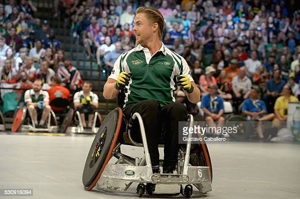 Derek Hough takes part in the Jaguar Landrover Challenge wheelchair rugby match at the Invictus Games Orlando 2016 at ESPN Wide World of Sports on...