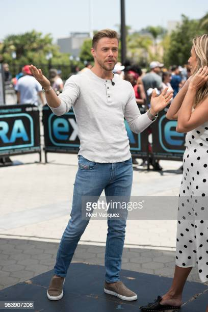 Derek Hough visits 'Extra' at Universal Studios Hollywood on June 25 2018 in Universal City California