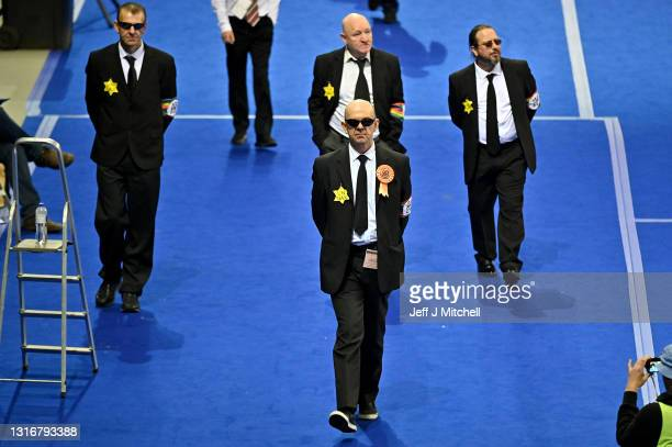 Derek Jackson of the Liberal Party is asked to leave the Glasgow counting centre in the Emirates Arena on May 07, 2021 in Glasgow, Scotland. All 129...
