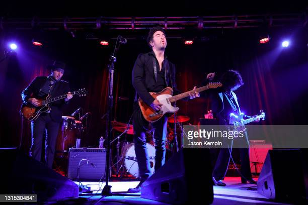 Derek James, Jerry Fuentes and Diego Navaira of The Last Bandoleros perform at 3rd & Lindsley on April 29, 2021 in Nashville, Tennessee.