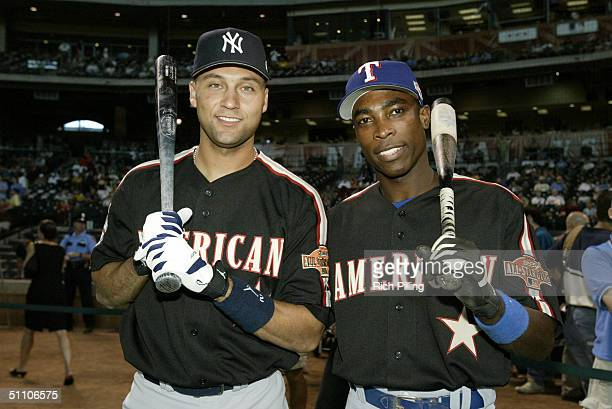 Derek Jeter and Alfonso Soriano pose for a photo during the 2004 AllStar Game Workout Day at Minute Maid Field on July 12 2004 in Houston TX