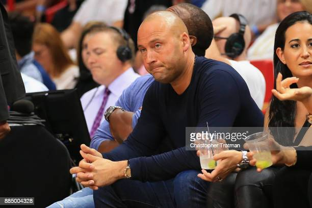 Derek Jeter attends an NBA game between the Miami Heat and the Golden State Warriors at American Airlines Arena on December 3 2017 in Miami Florida...