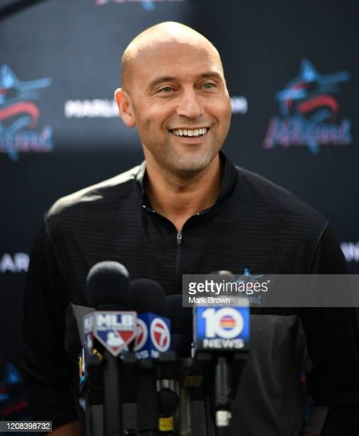 Derek Jeter, CEO of the Miami Marlins speaks with the media at the Miami Marlins spring training complex at Roger Dean Chevrolet Stadium on February...