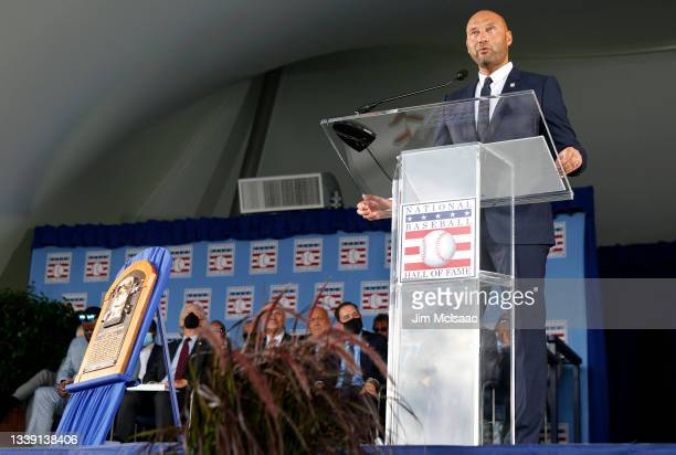 Derek Jeter gives his speech during the Baseball Hall of Fame induction ceremony at Clark Sports Center on September 08, 2021 in Cooperstown, New...