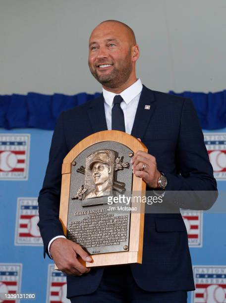 Derek Jeter holds his plaque during the Baseball Hall of Fame induction ceremony at Clark Sports Center on September 08, 2021 in Cooperstown, New...