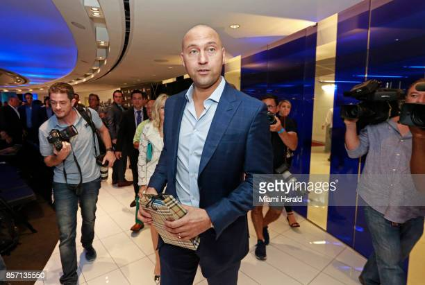 Derek Jeter is photographed after a press conference with Bruce Sherman as Miami Marlins owners on Tuesday Oct 3 2017