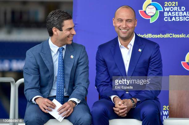 Derek Jeter of the Miami Marlins and City of Miami Mayor Francis X Suarez during the press conference to announce the World Baseball Classic will be...