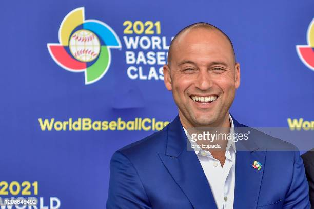 Derek Jeter of the Miami Marlins smiles during the press conference to announce the World Baseball Classic will be held in Miami next year on...