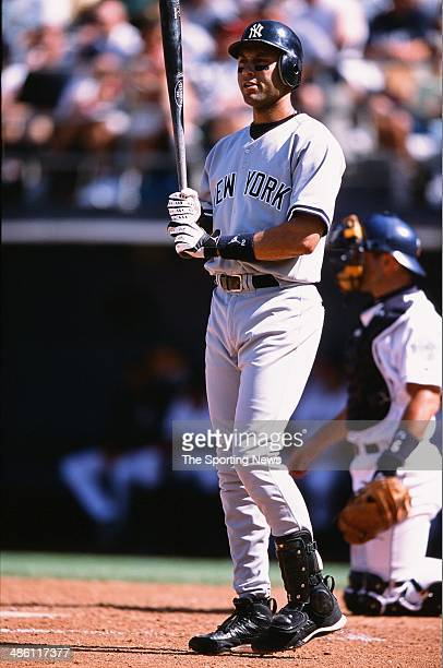 Derek Jeter of the New York Yankees bats against the San Diego Padres on June 23 2002 at Qualcomm Stadium in San Diego California The Yankees...