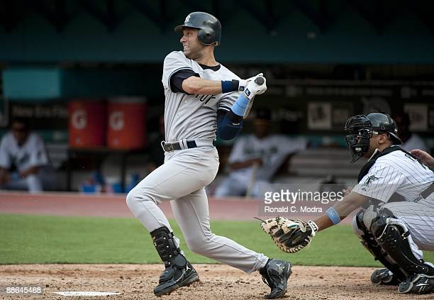 Derek Jeter of the New York Yankees bats during a MLB game against the Florida Marlins at LandShark Stadium on June 21 2009 in Miami Florida