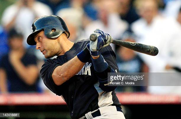 Derek Jeter of the New York Yankees bats during a preseason game against the Miami Marlins at Marlins Park on April 2 2012 in Miami Florida