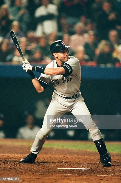 Derek Jeter of the New York Yankees bats during Game Five of the World Series against the New York Mets on October 26 2000 at Shea Stadium in...