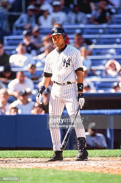 Derek Jeter of the New York Yankees bats during the game against the Seattle Mariners on May 5 2002 at Yankee Stadium in Bronx New York