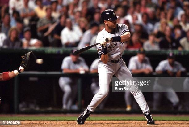 Derek Jeter of the New York Yankees bats for the American League during the 1998 MLB All-Star Game against the National League on July 7, 1998 at...