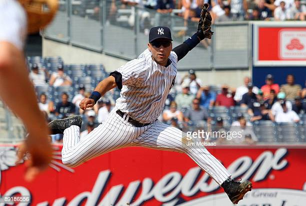 Derek Jeter of the New York Yankees completes a double play against the Baltimore Orioles on July 22 2009 at Yankee Stadium in the Bronx borough of...