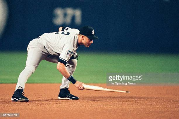 Derek Jeter of the New York Yankees during Game Five of the World Series against the New York Mets on October 26 2000 at Shea Stadium in Flushing New...