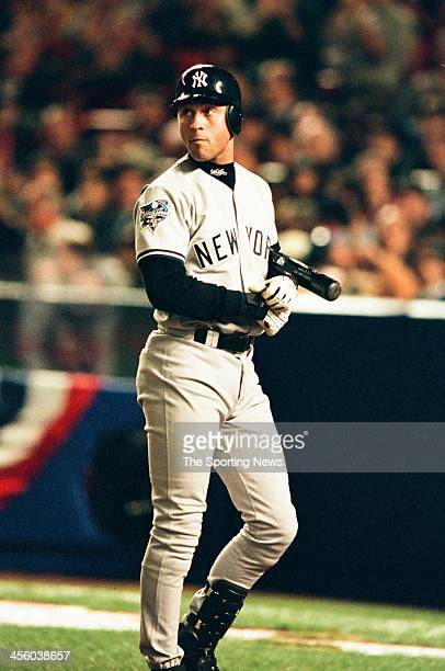 Derek Jeter of the New York Yankees during Game Three of the World Series against the New York Mets on October 24 2000 at Shea Stadium in Flushing...