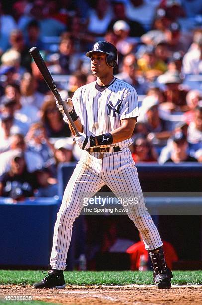 Derek Jeter of the New York Yankees during the game against the Anaheim Angels at Yankee Stadium on August 21 2002 in the Bronx New York