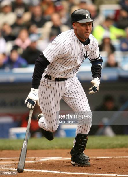 Derek Jeter of the New York Yankees hits a single in the first inning against the Baltimore Orioles on April 8, 2007 at Yankee Stadium in the Bronx...