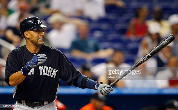 Derek Jeter of the New York Yankees hits during a game against the Miami Marlins at Marlins Park on April 1 2012 in Miami Florida