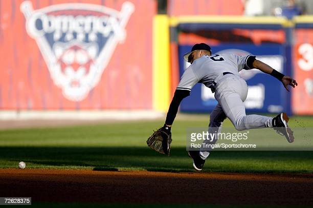 Derek Jeter of the New York Yankees in action against the Detroit Tigers during Game Four of the 2006 American League Division Series on October 7,...