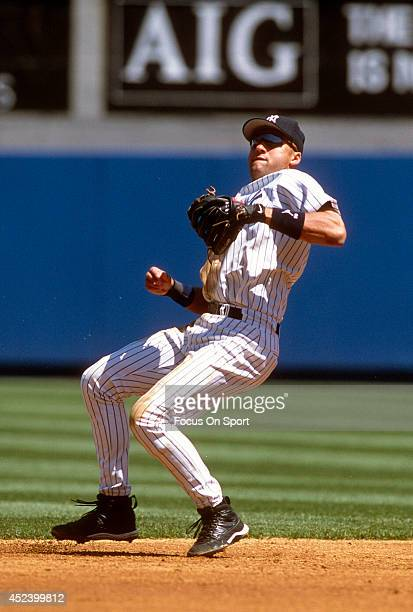 Derek Jeter of the New York Yankees in action during an Major League Baseball game circa 2002 at Yankee Stadium in the Bronx borough of New York City...