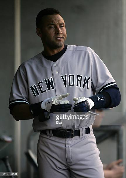 Derek Jeter of the New York Yankees is seen in the dugout after he struck out in the top of the fourth inning against the Detroit Tigers during Game...