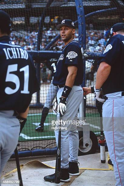 Derek Jeter of the New York Yankees looks on during batting practice before the 73rd MLB AllStar Game at Miller Park on Tuesday July 8 2002 in...