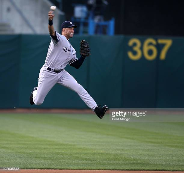 Derek Jeter of the New York Yankees makes a play against the Oakland Athletics during the game at the Oakland-Alameda County Coliseum on July 5, 2010...