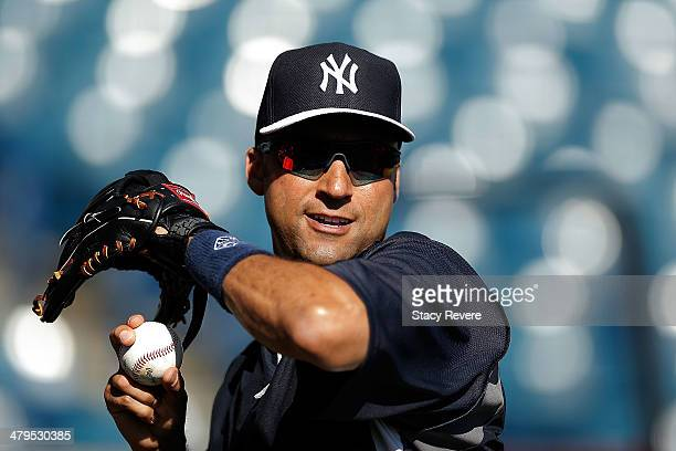 Derek Jeter of the New York Yankees participates in drills prior to a game againt the Boston Red Sox at George M Steinbrenner Field on March 18 2014...