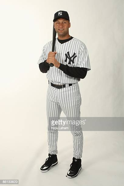 Derek Jeter of the New York Yankees poses during Photo Day on February 19 2009 at Legends Field in Tampa Florida