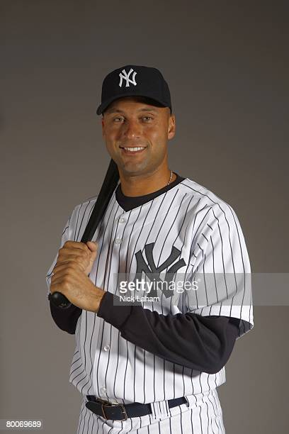 Derek Jeter of the New York Yankees poses during Photo Day on February 21 2008 at Legends Field in Tampa Florida
