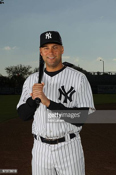 Derek Jeter of the New York Yankees poses for a photo during Spring Training Media Photo Day at George M. Steinbrenner Field on February 25, 2010 in...