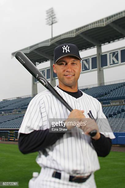 Derek Jeter of the New York Yankees poses for a portrait during Yankees Photo Day at Legends Field on February 25 2005 in Tampa Florida
