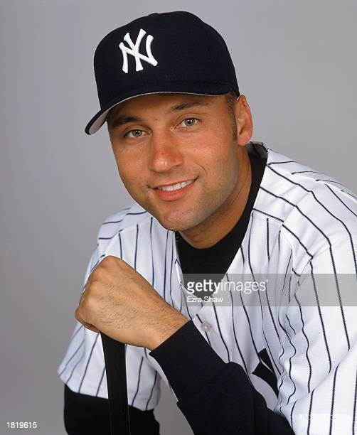 Derek Jeter of the New York Yankees poses for a portrait during the Yankees Media Day at Legends Field on Febuary 21 2003 in Tampa Florida