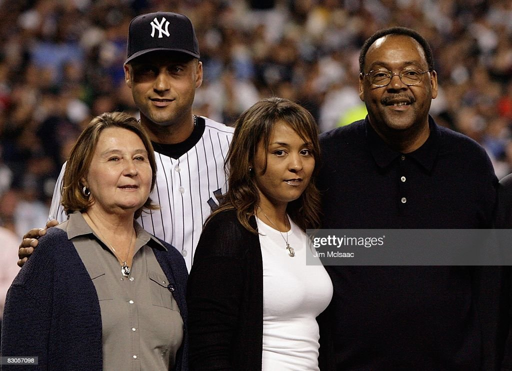 Derek Jeter #2 of the New York Yankees poses with his family, father Charles mother Dorothy and sister Sharlee,during pregame ceremonies prior to the start of the last regular season game at Yankee Stadium between the Baltimore Orioles and the New York Yankees on September 21, 2008 in the Bronx borough of New York City. The Yankees are playing their final season in the 85 year old ball park and plan on moving into the new Yankee Stadium across the street to start the 09 season.