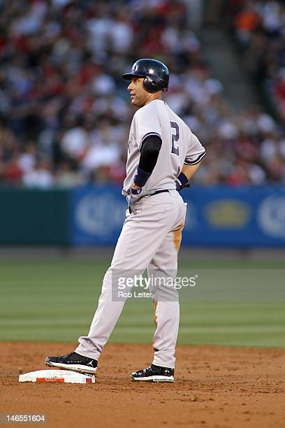 Derek Jeter of the New York Yankees stands on second base during the game against the Los Angeles Angels of Anaheim at Angel Stadium on May 29 2012...