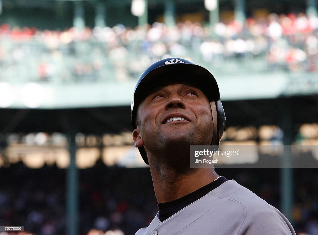 Derek Jeter #2 of the New York Yankees takes a look around the stands before the start of a game against the Boston Red Sox on September 15, 2007 at Fenway Park in Boston, Massachusetts.