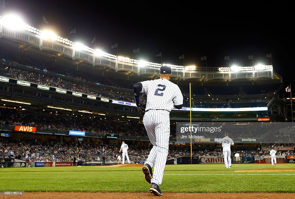 Derek Jeter #2 of the New York Yankees takes the field for the seventh inning against the Tampa Bay Rays at Yankee Stadium on September 9, 2014 in the Bronx borough of New York City. The Rays defeated the Yankees 4-3.