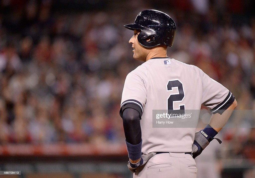 Derek Jeter #2 of the New York Yankees waits on first during the eighth inning against the Los Angeles Angels at Angel Stadium of Anaheim on May 7, 2014 in Anaheim, California.
