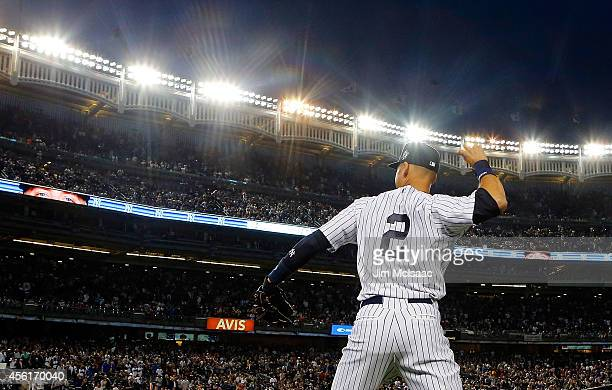 Derek Jeter of the New York Yankees warms up before a game against the Baltimore Orioles at Yankee Stadium on September 25 2014 in the Bronx borough...