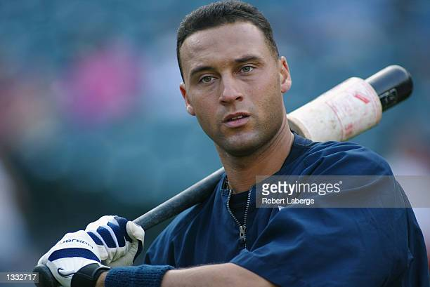 Derek Jeter of the New York Yankees warms up prior to the start of the game against the Anaheim Angels at Edison International Field on August 3 2002...
