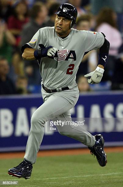 Derek Jeter of the USA scores a run in the sixth inning against Venezuela during the 2009 World Baseball Classic Pool C match on March 8 2009 at the...