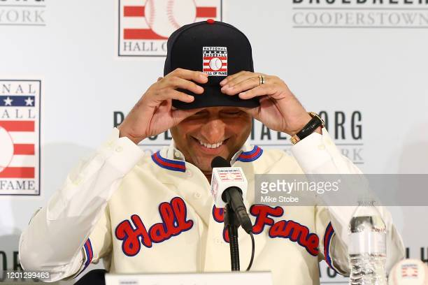 Derek Jeter speaks to the media after being elected into the National Baseball Hall of Fame Class of 2020 on January 22 2020 at the St Regis Hotel in...