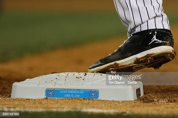 Derek Jeter's foot of first base during the New York Yankees V Chicago Cubs double header game two at Yankee Stadium The Bronx New York 16th April...