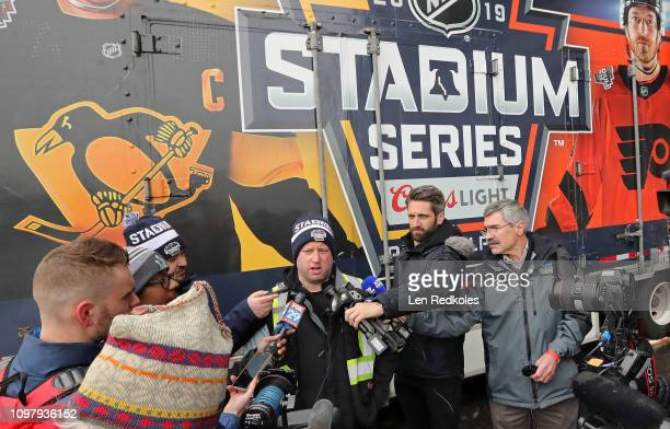 Derek King NHL Senior Manager Facilities Operations Hockey Operations speaks with the media in front of the 2019 Coors Light NHL Stadium Series Ice...